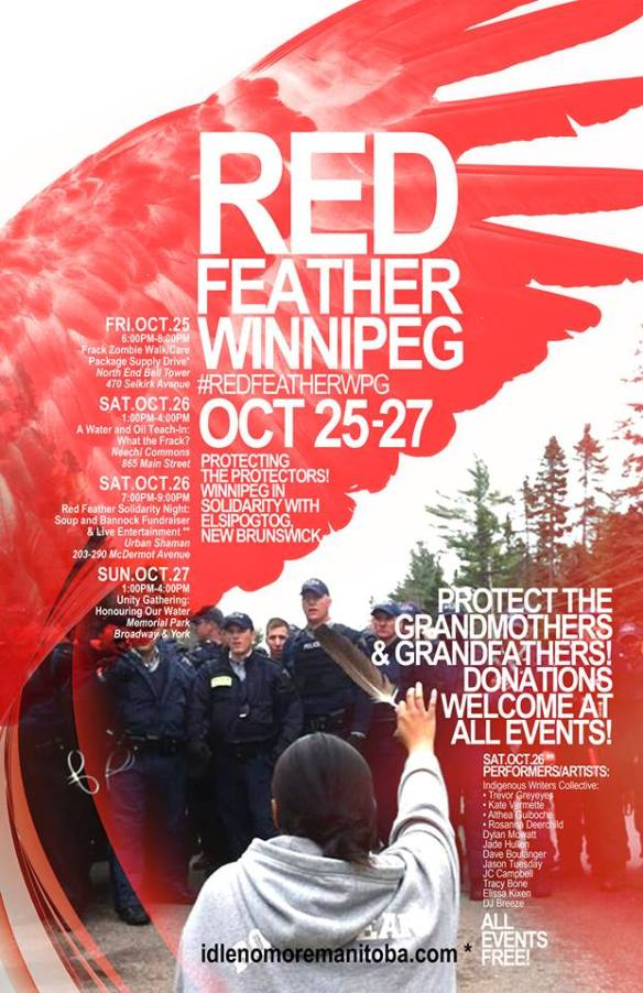 Red Feather Winnipeg Poster #RedFeatherWPG (Solidarity Campaign for Elsipogtog)